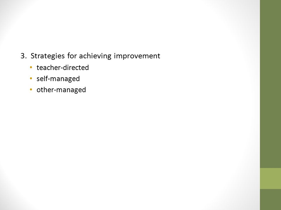 3. Strategies for achieving improvement