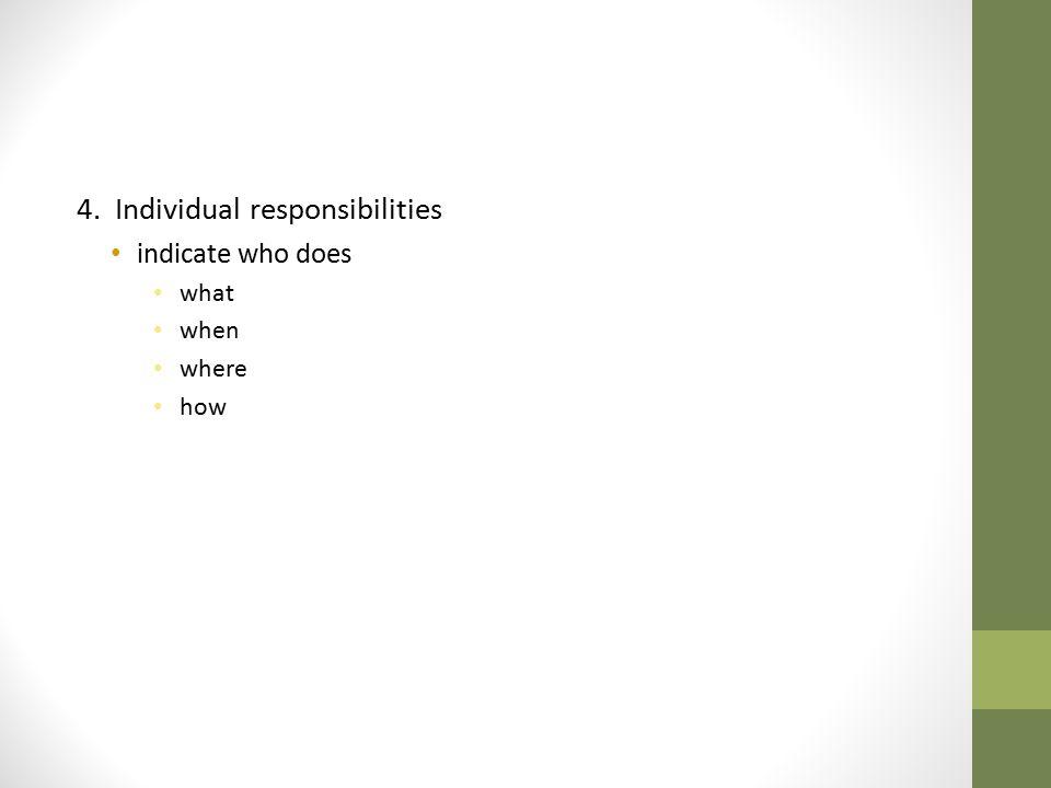 4. Individual responsibilities