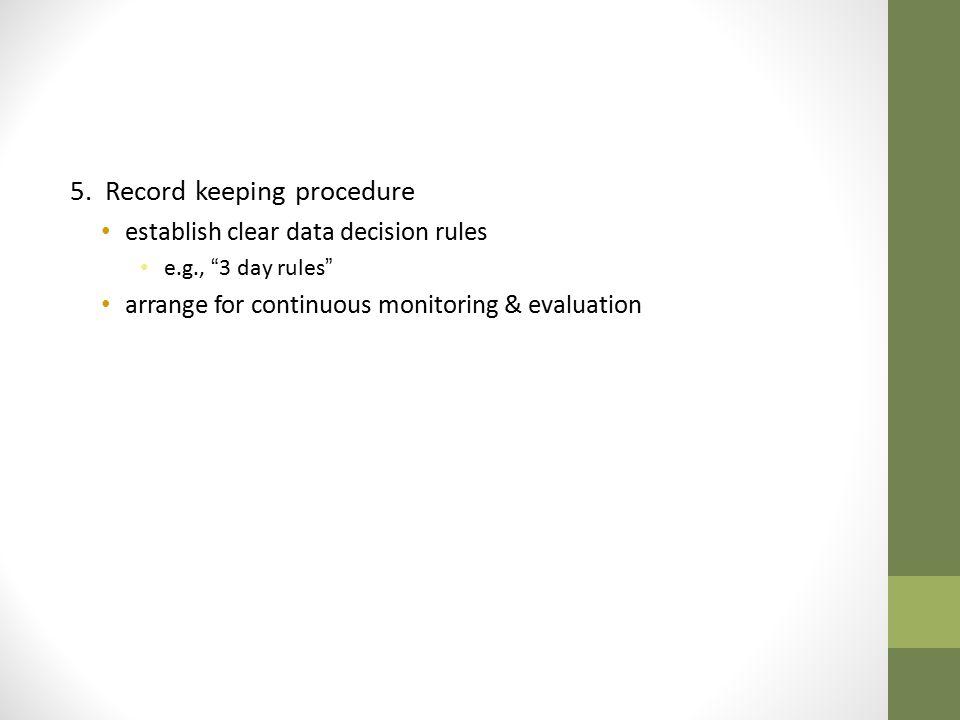5. Record keeping procedure