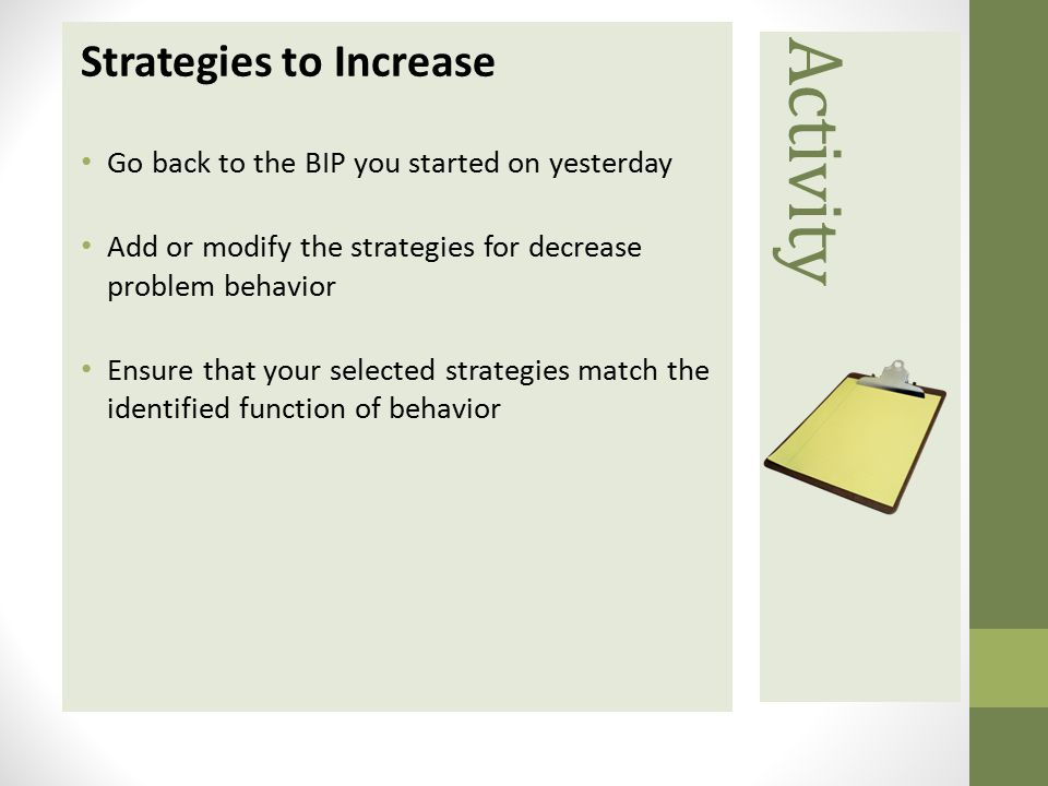 Activity Strategies to Increase