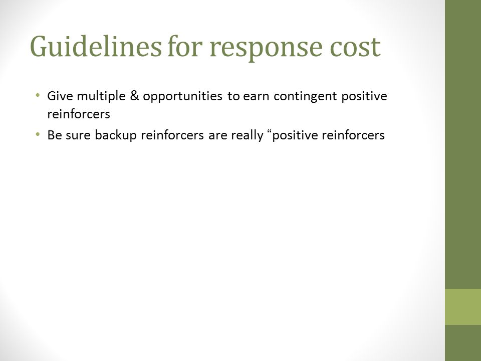 Guidelines for response cost