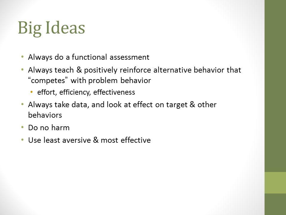 Big Ideas Always do a functional assessment