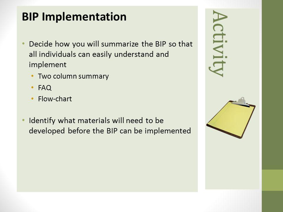 Activity BIP Implementation
