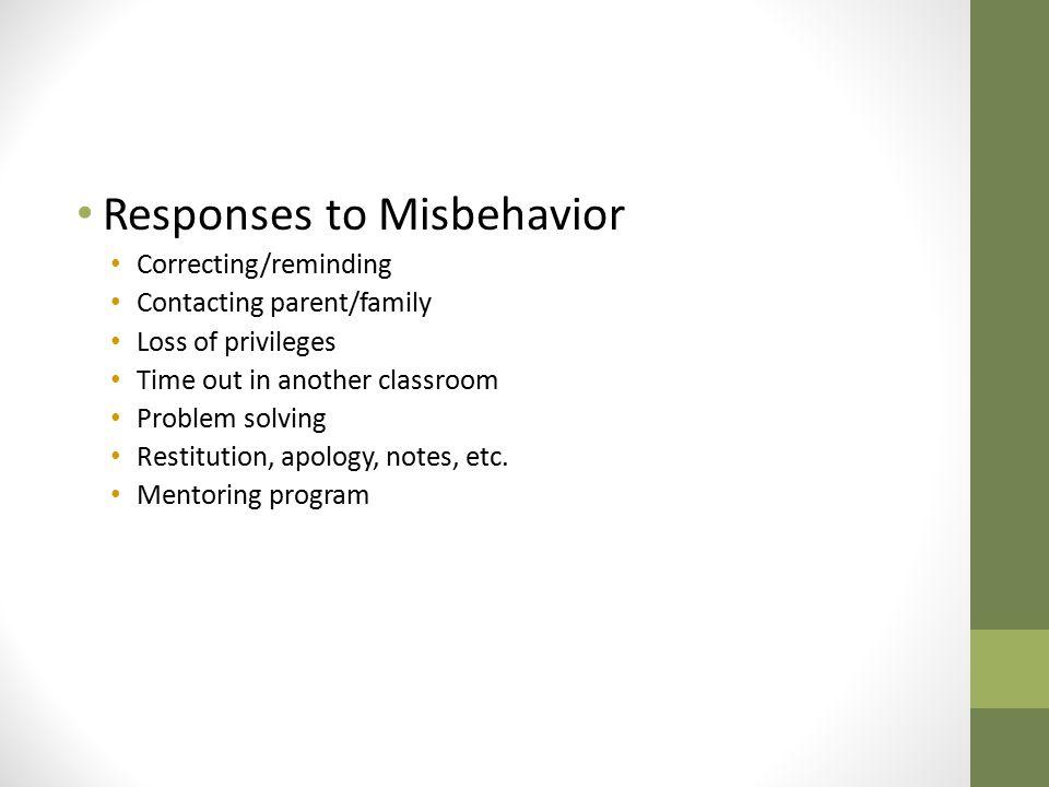 Responses to Misbehavior