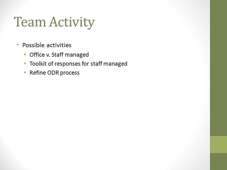 Team Activity Possible activities Office v. Staff managed