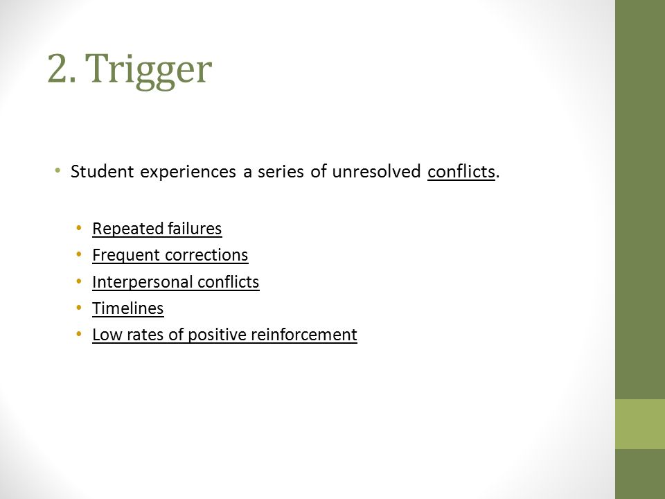 2. Trigger Student experiences a series of unresolved conflicts.