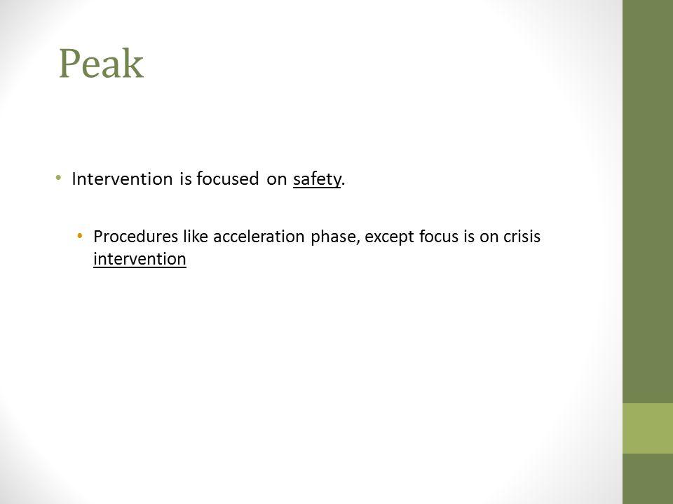 Peak Intervention is focused on safety.