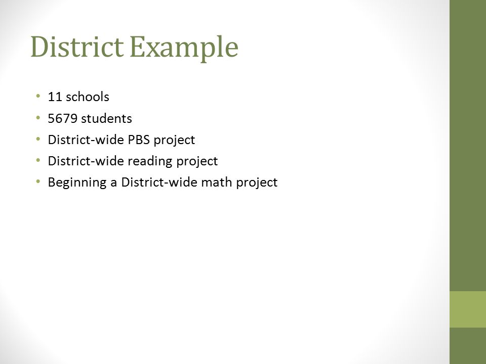 District Example 11 schools 5679 students District-wide PBS project