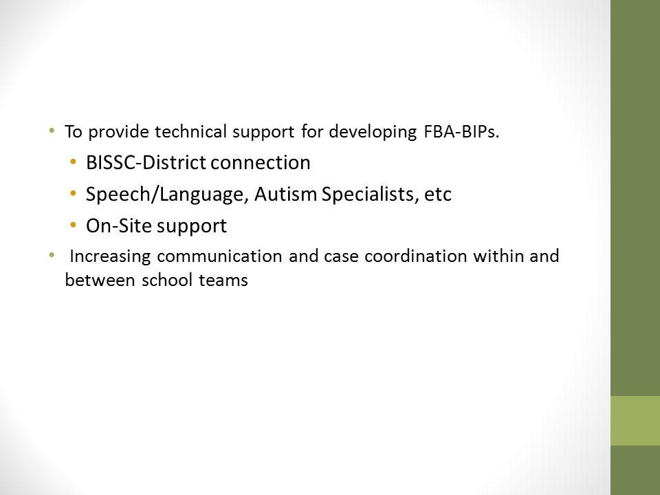 BISSC-District connection Speech/Language, Autism Specialists, etc