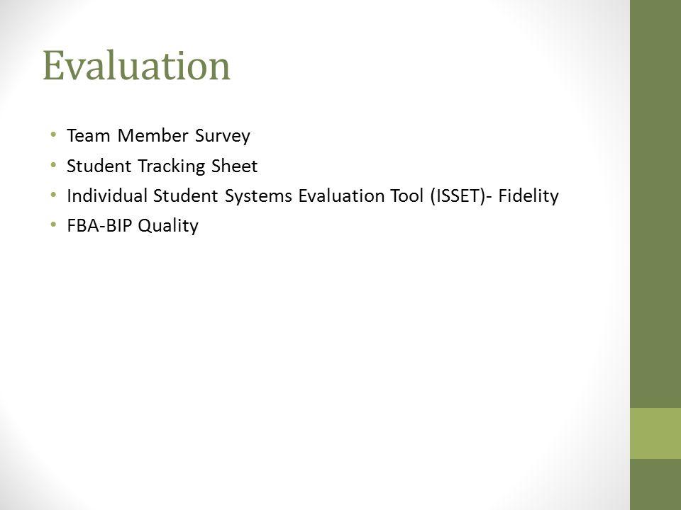Evaluation Team Member Survey Student Tracking Sheet