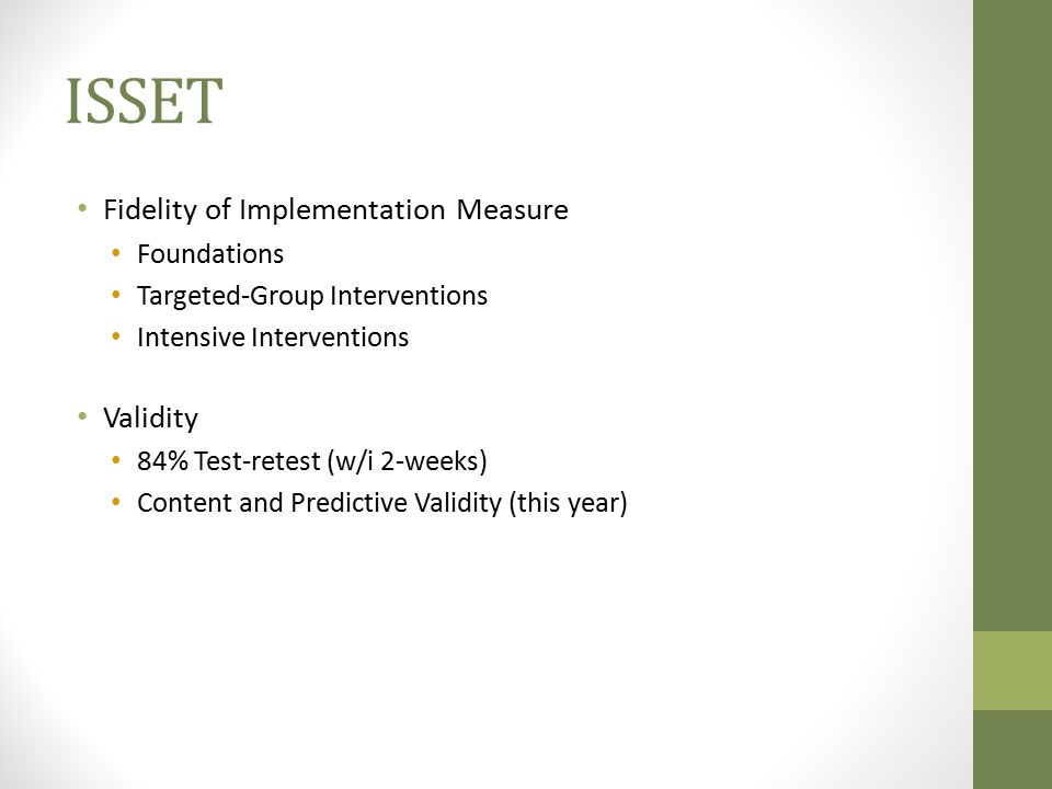 ISSET Fidelity of Implementation Measure Validity Foundations