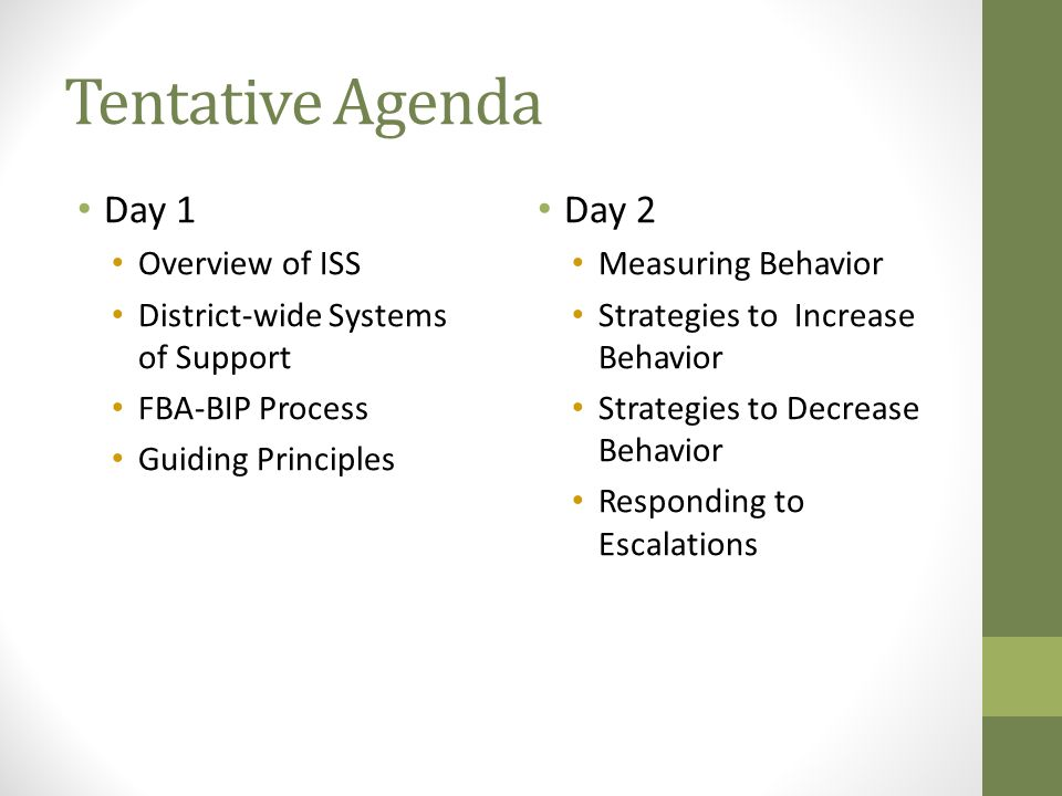 Tentative Agenda Day 1 Day 2 Overview of ISS