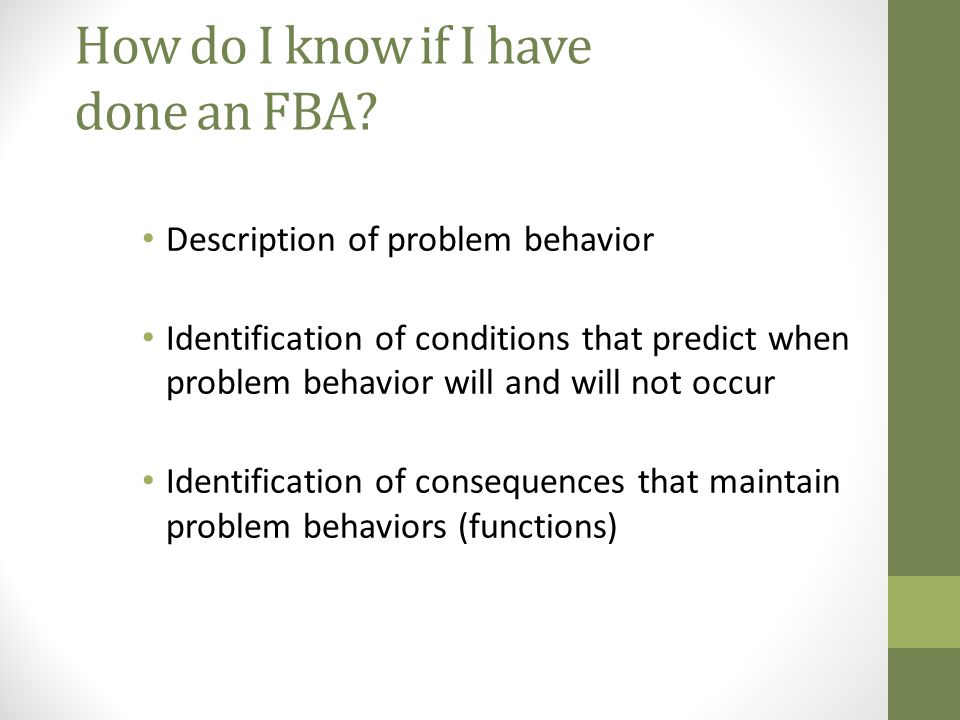 How do I know if I have done an FBA