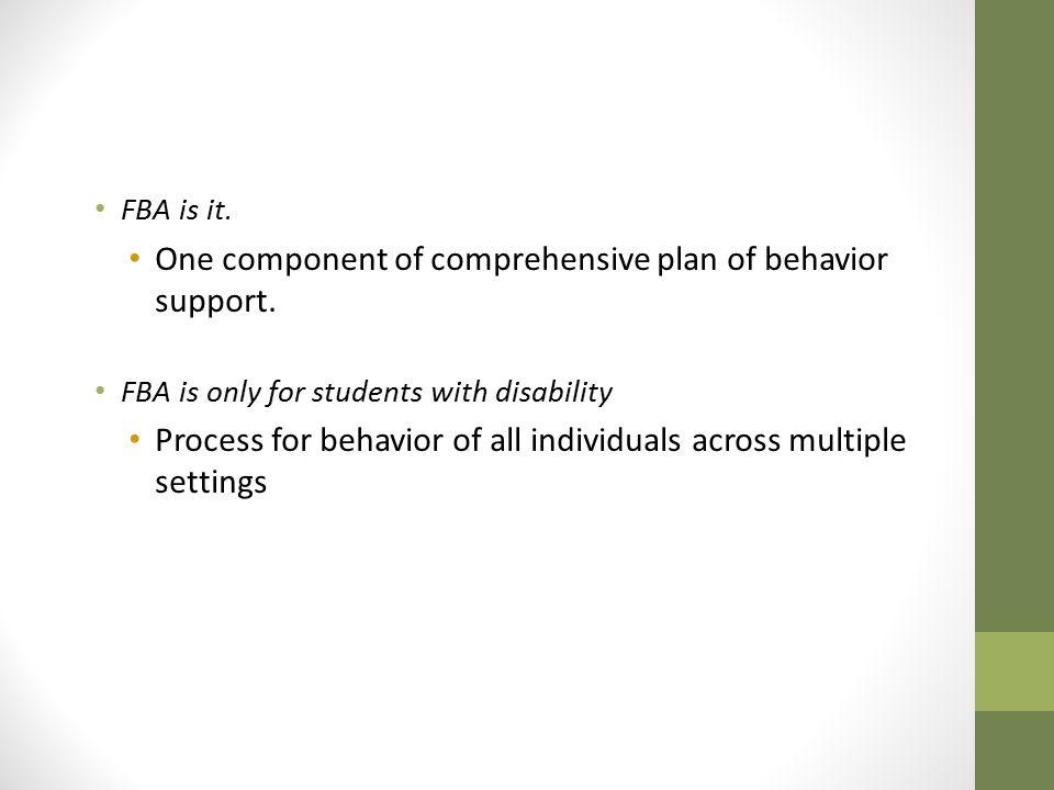 One component of comprehensive plan of behavior support.