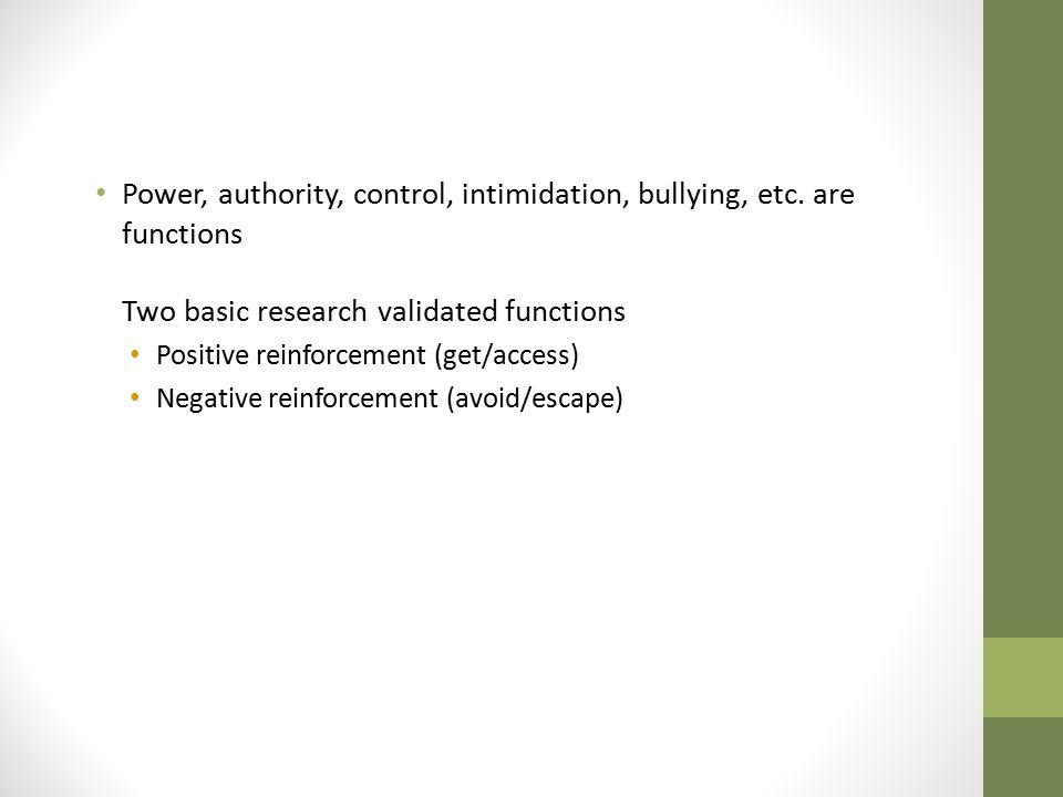 Power, authority, control, intimidation, bullying, etc
