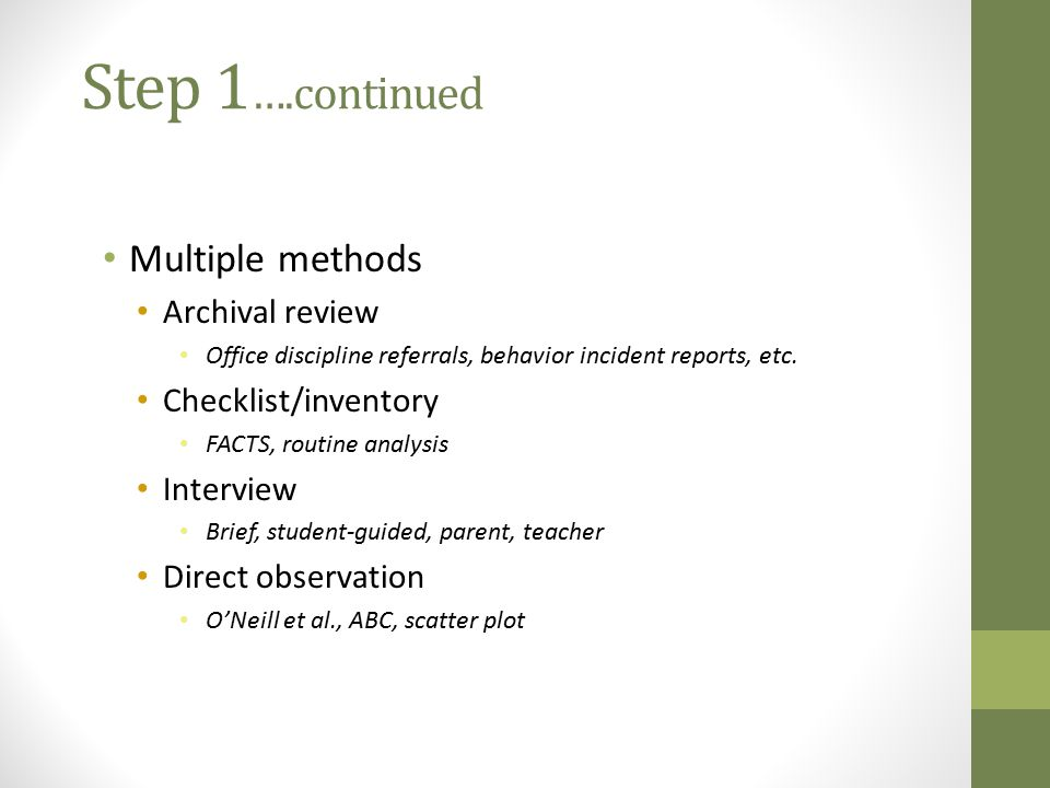 Step 1….continued Multiple methods Archival review Checklist/inventory