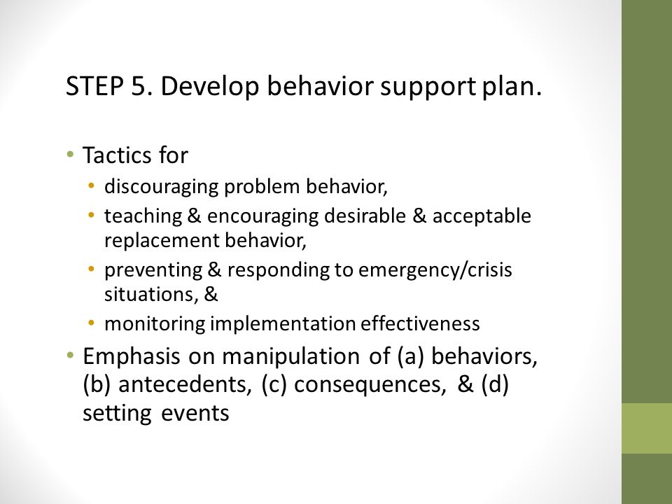 STEP 5. Develop behavior support plan.