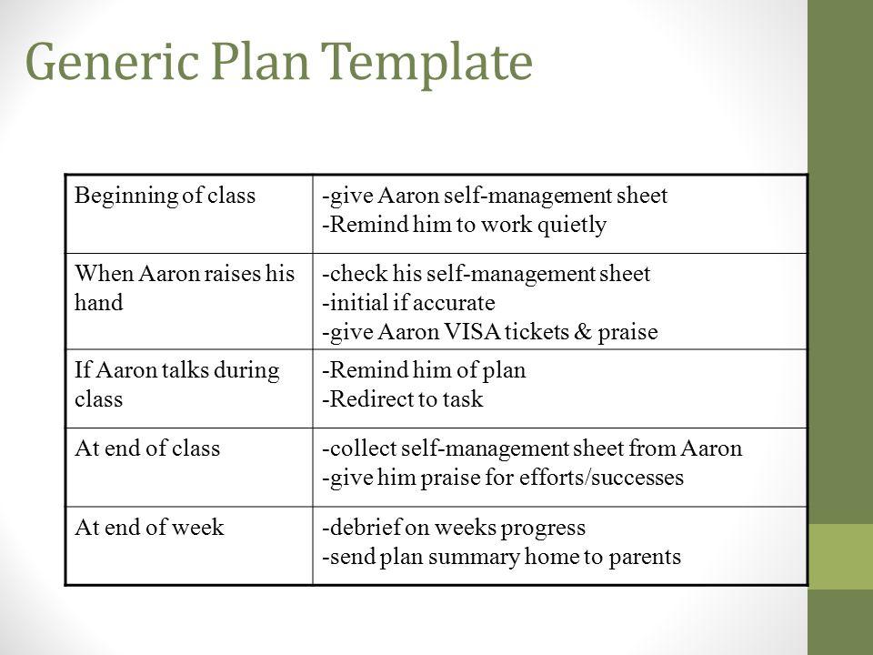 Generic Plan Template Beginning of class