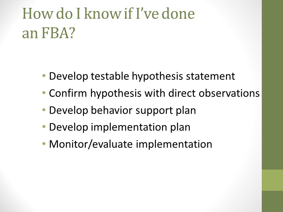 How do I know if I've done an FBA