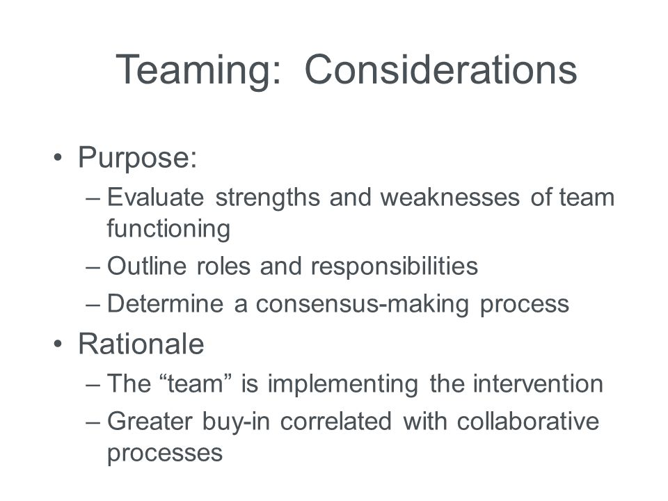 Teaming: Considerations