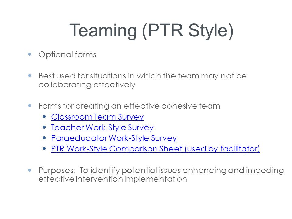 Teaming (PTR Style) Optional forms