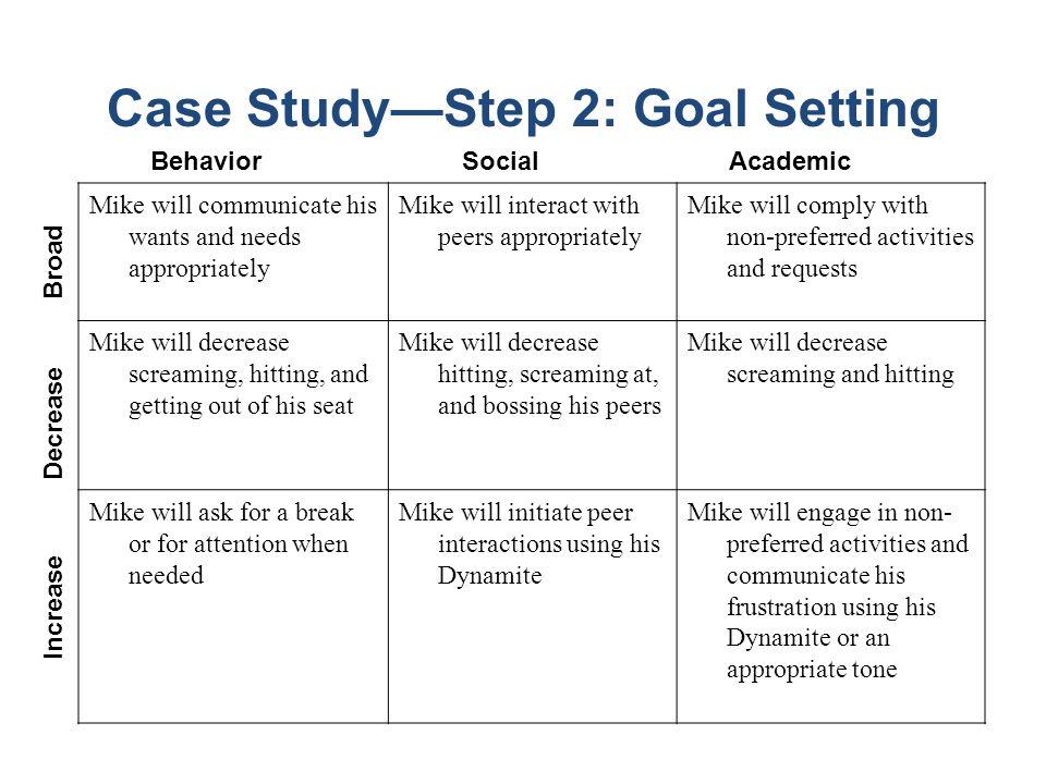 Case Study—Step 2: Goal Setting