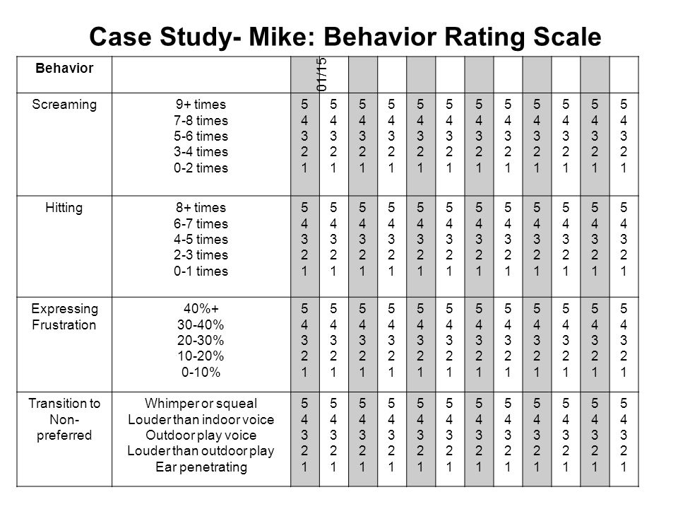 Case Study- Mike: Behavior Rating Scale
