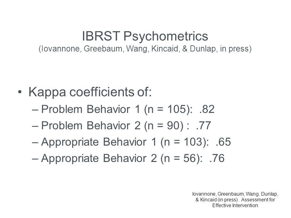 Kappa coefficients of: