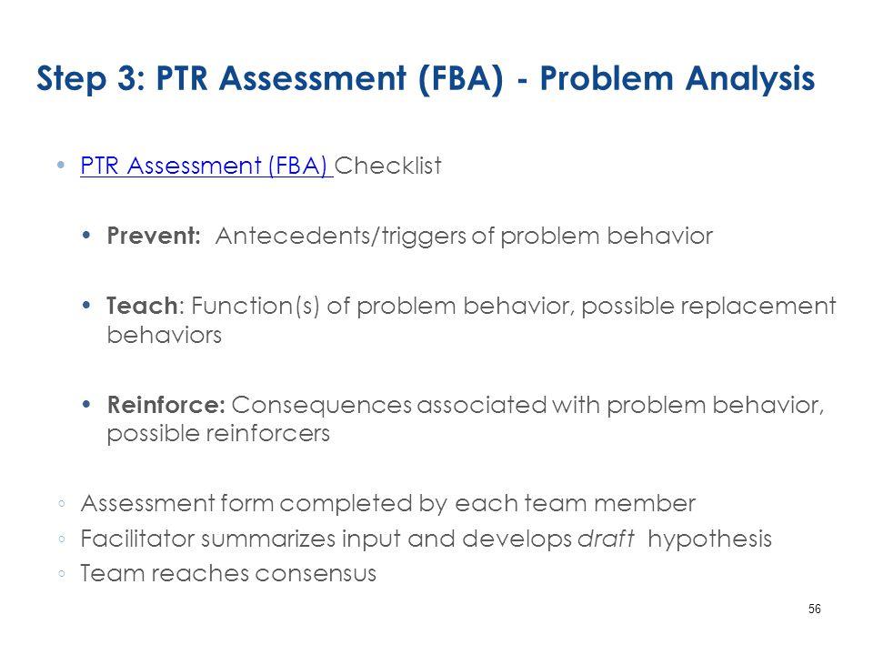 Step 3: PTR Assessment (FBA) - Problem Analysis