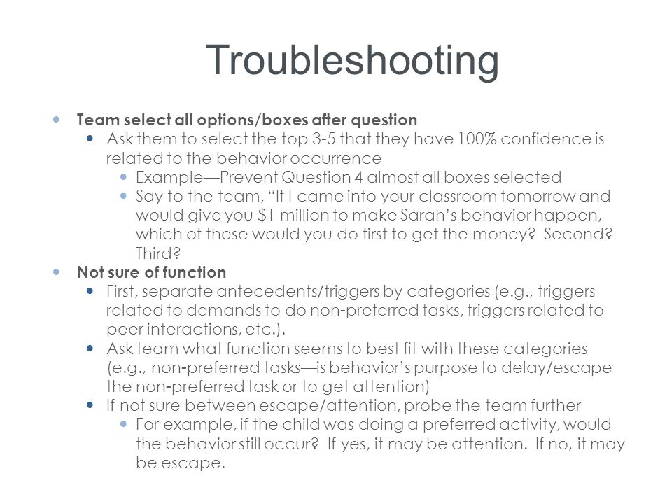 Troubleshooting Team select all options/boxes after question