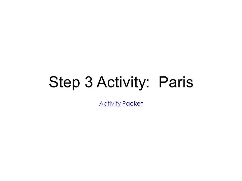 Step 3 Activity: Paris Activity Packet
