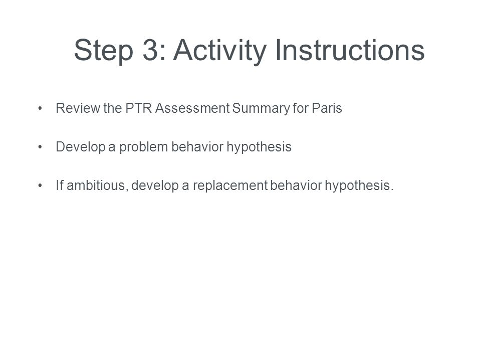 Step 3: Activity Instructions