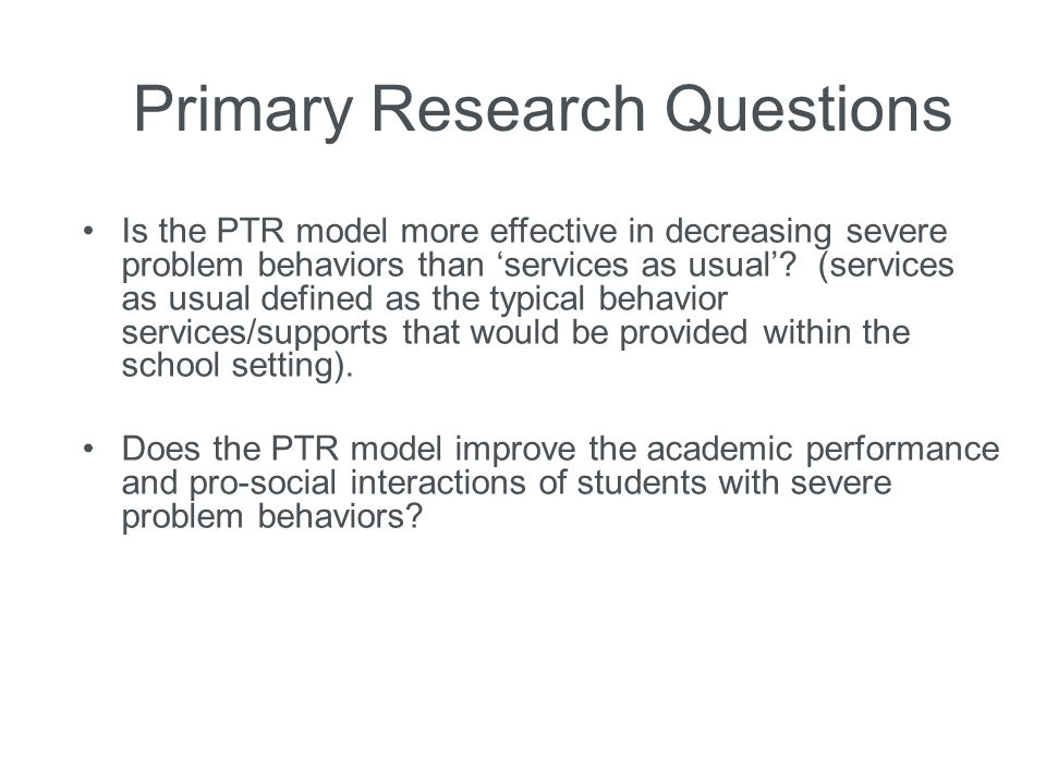 Primary research question