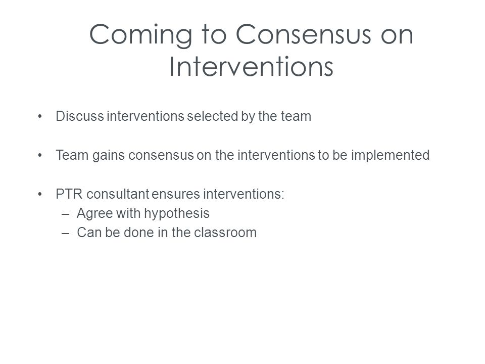 Coming to Consensus on Interventions