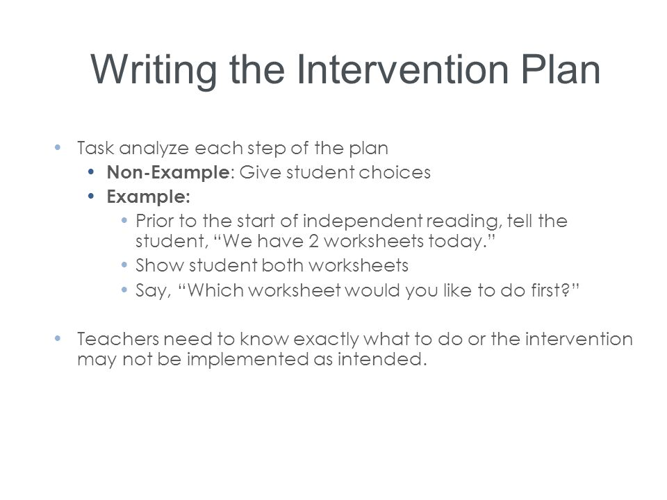 Writing the Intervention Plan