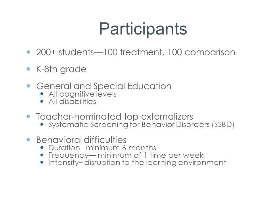 Participants 200+ students—100 treatment, 100 comparison K-8th grade