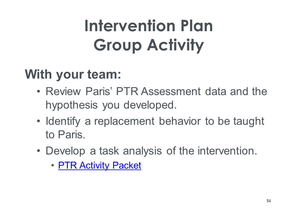 Intervention Plan Group Activity