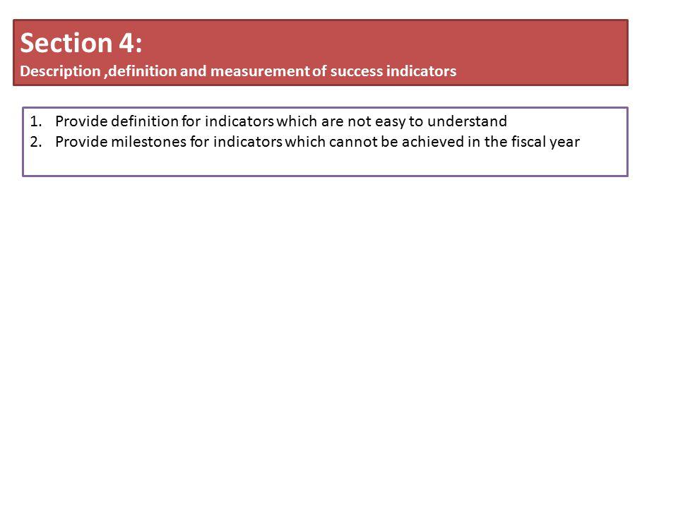 Section 4: Description ,definition and measurement of success indicators