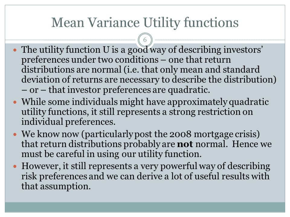 Mean Variance Utility functions