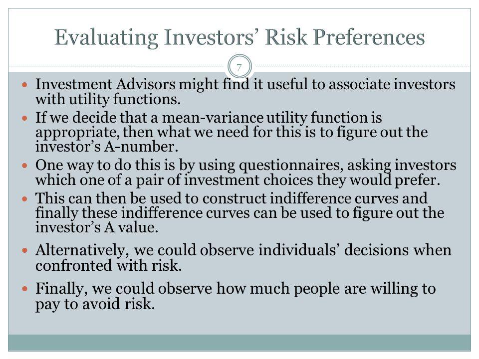 Evaluating Investors' Risk Preferences