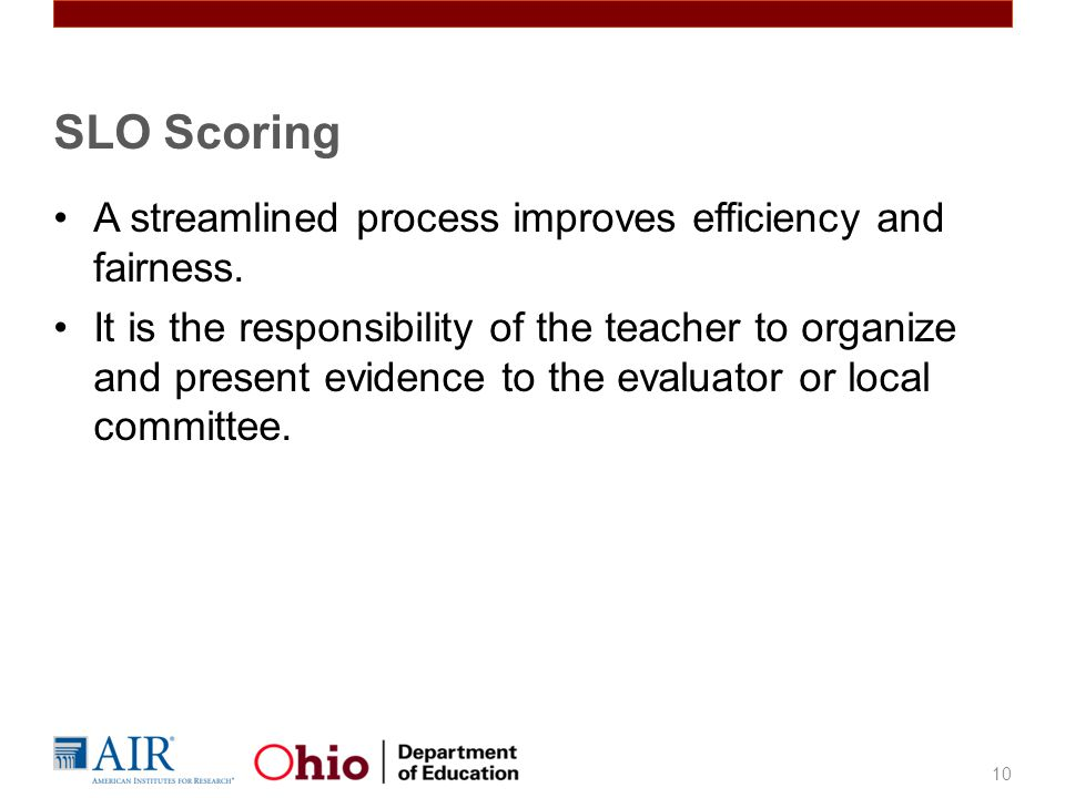 SLO Scoring A streamlined process improves efficiency and fairness.