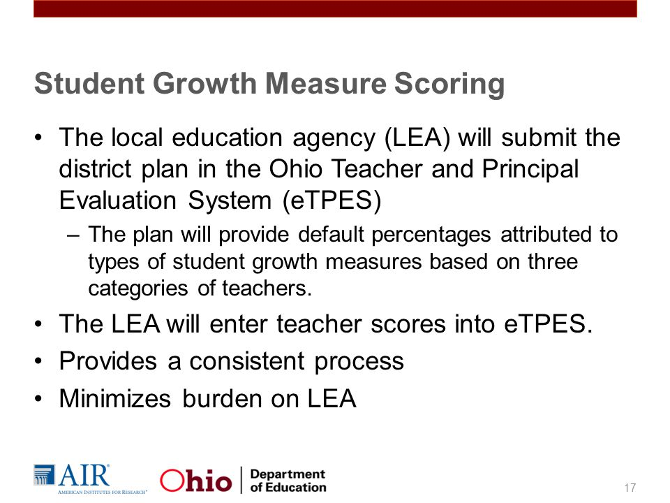 Student Growth Measure Scoring