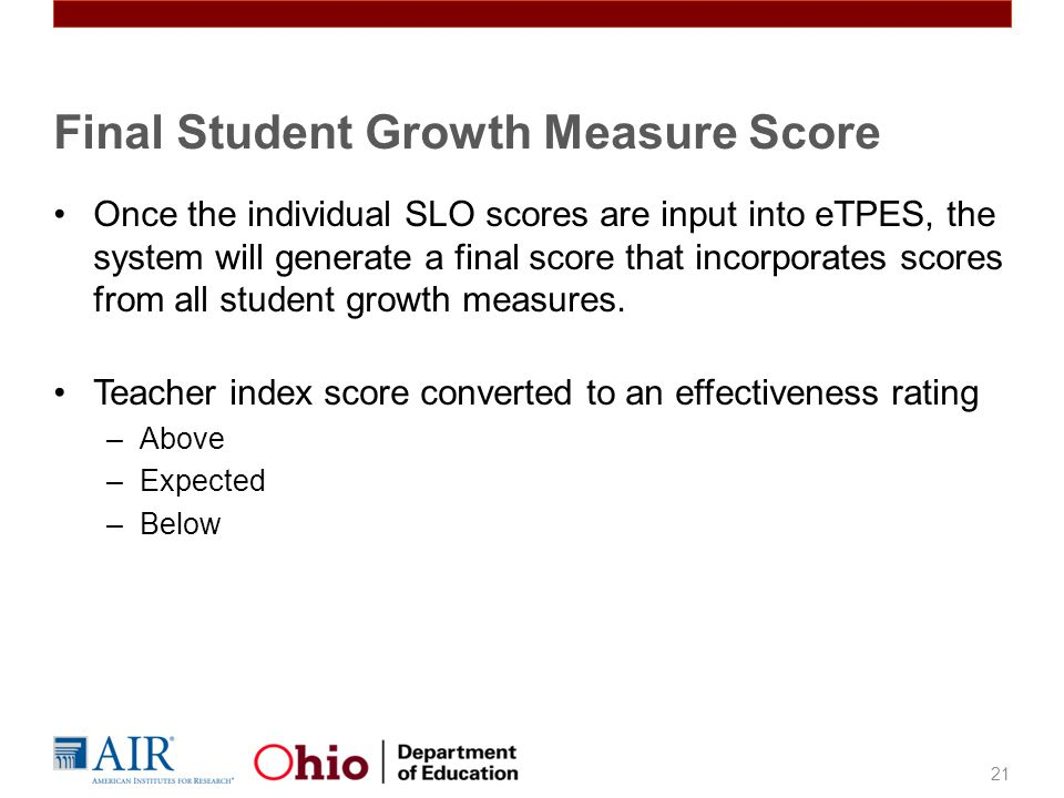 Final Student Growth Measure Score