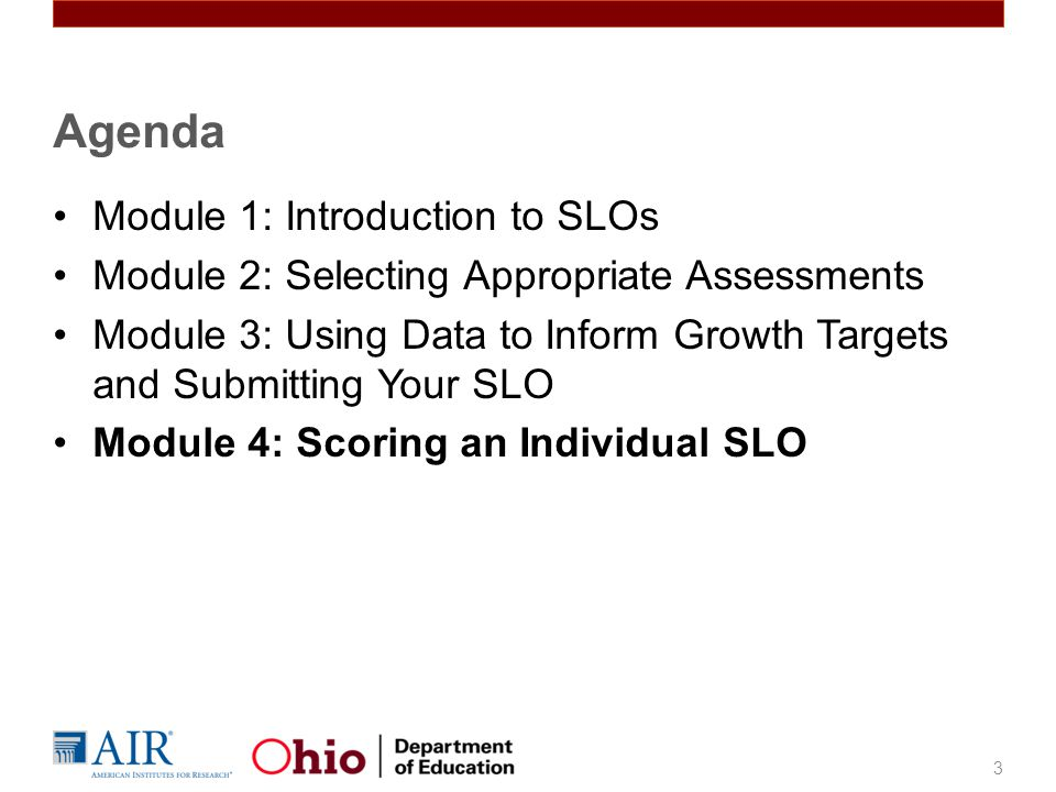 Agenda Module 1: Introduction to SLOs