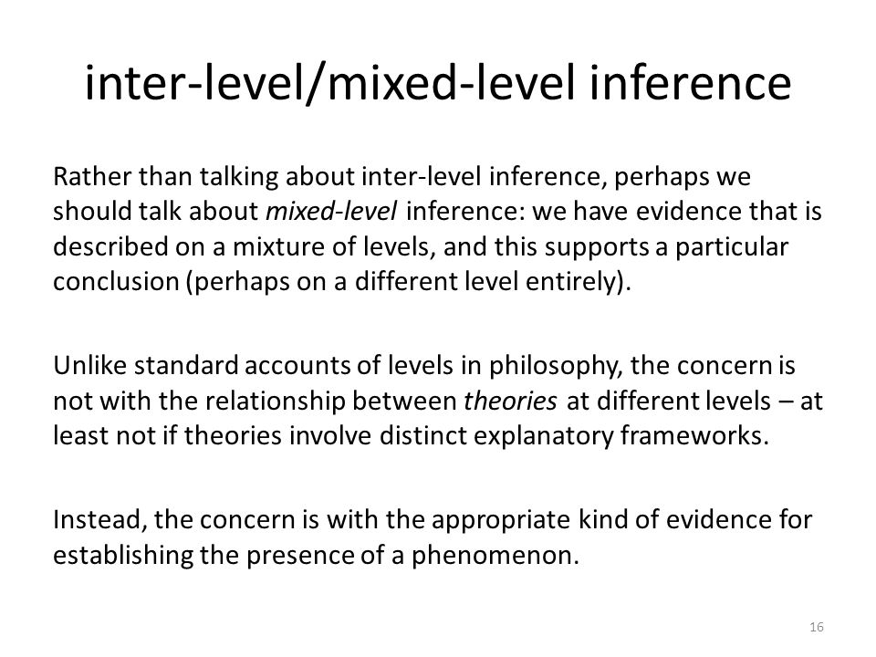 inter-level/mixed-level inference