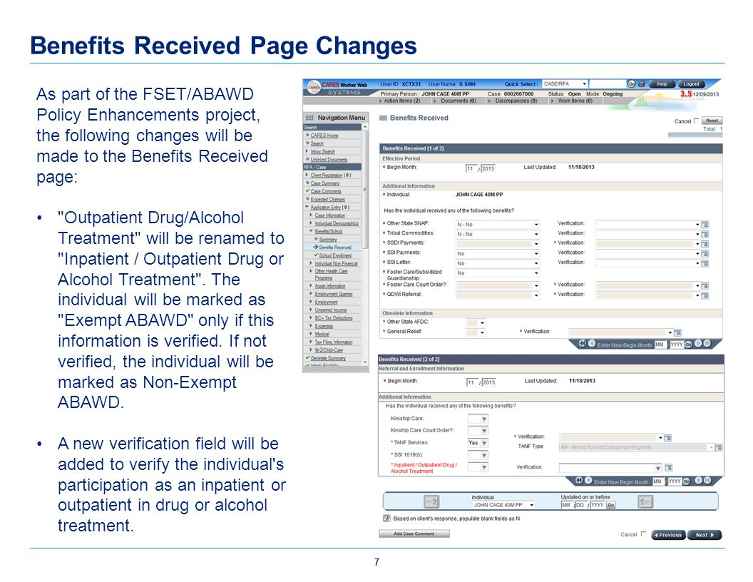 Benefits Received Page Changes
