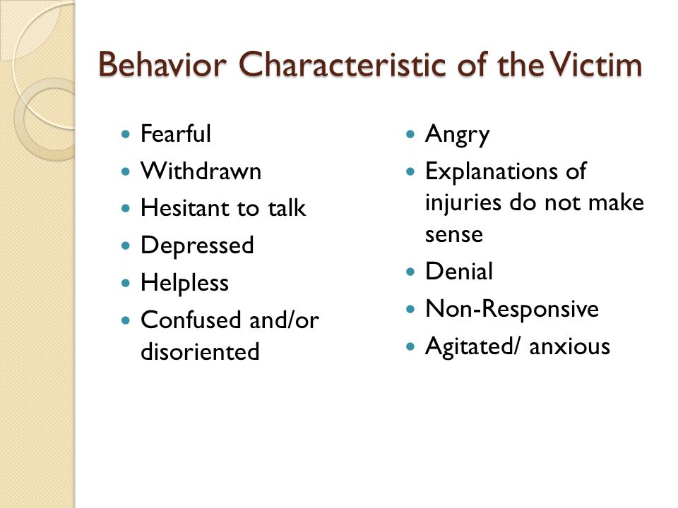 Behavior Characteristic of the Victim