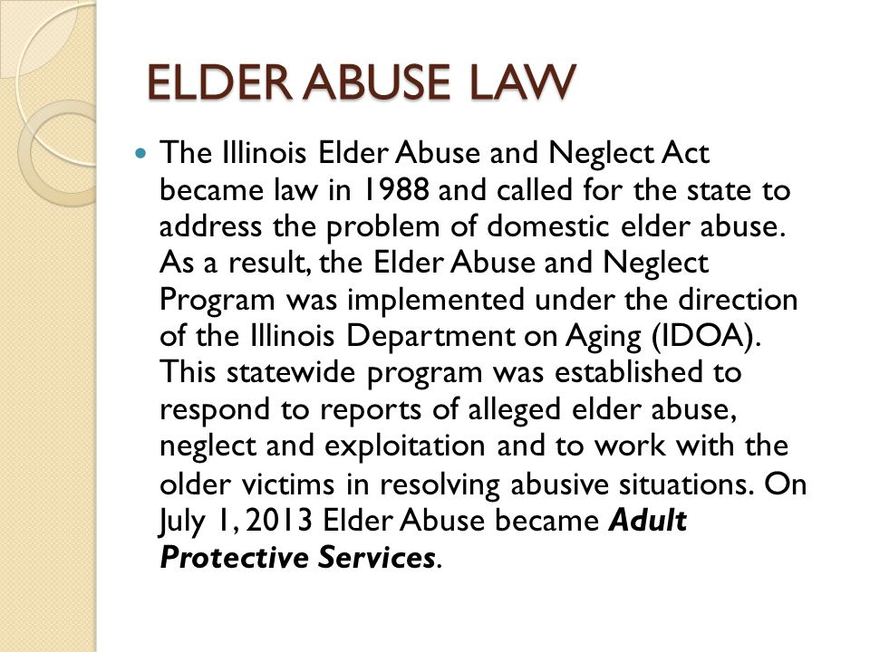 ELDER ABUSE LAW
