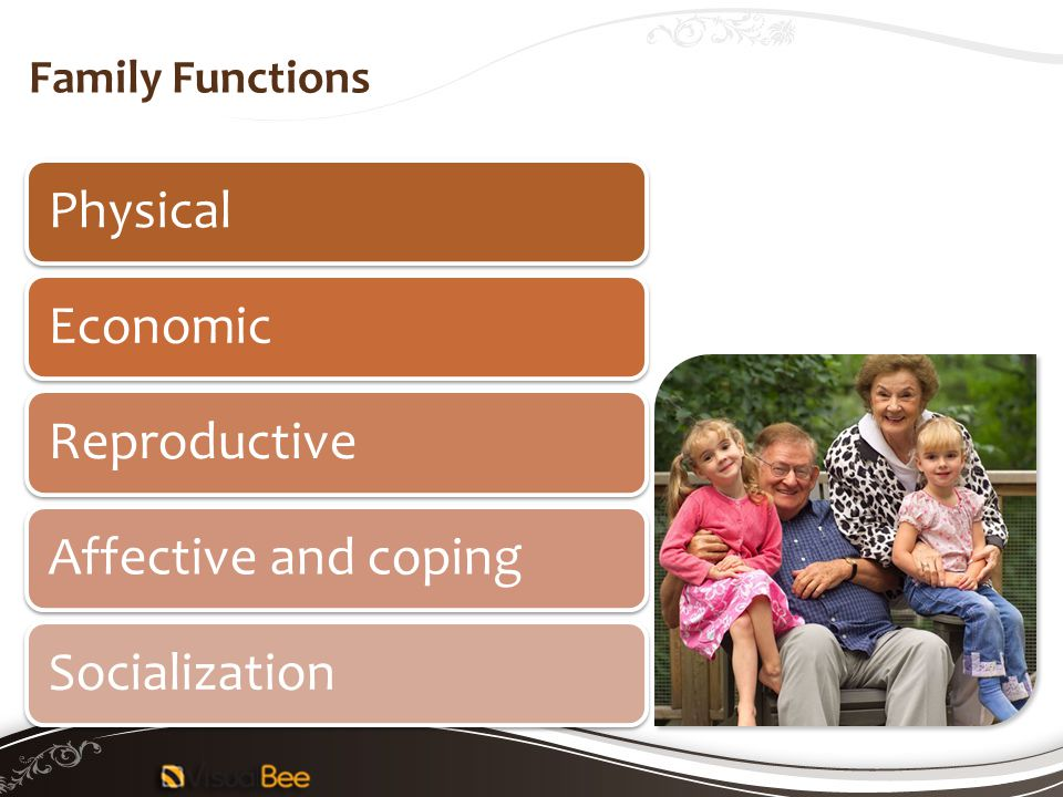 Physical Economic Reproductive Affective and coping Socialization