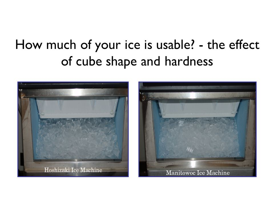 How much of your ice is usable - the effect of cube shape and hardness